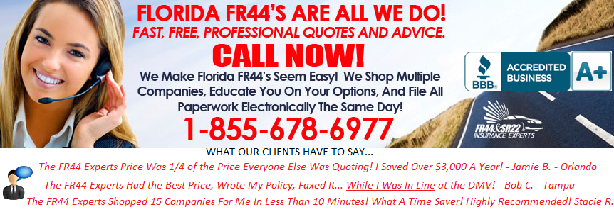 Florida FR44 Insurance - Lowest Price, Best Advice, Fastest Filing